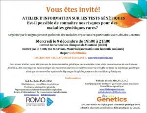 Atelier génétique RQMO Liflabs invitation